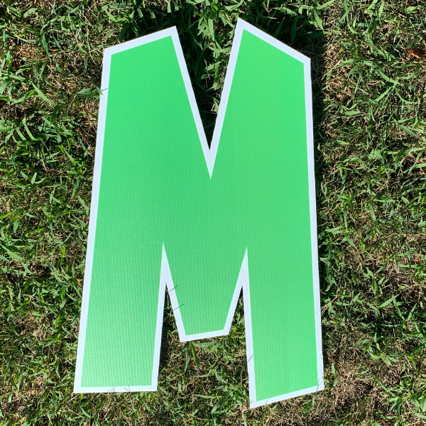green letter M yard greetings cards corrugated plastic coroplast happy birthday lawn