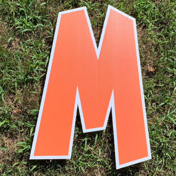 orange letter M yard greetings cards corrugated plastic coroplast happy birthday lawn