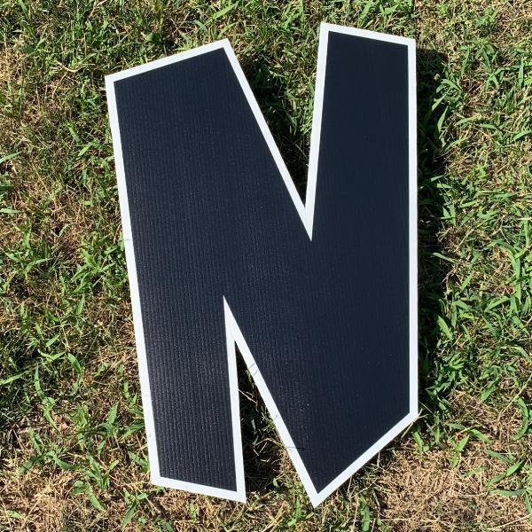 black letter N yard greetings cards corrugated plastic coroplast happy birthday lawn