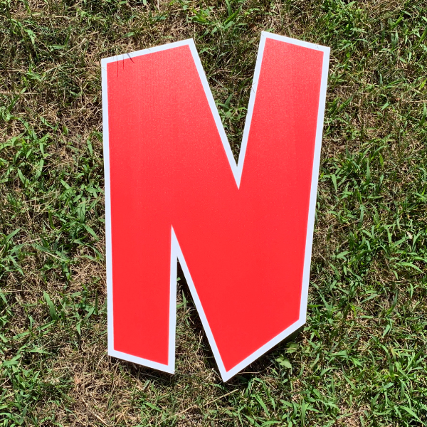 red letter N yard greetings cards corrugated plastic coroplast happy birthday lawn