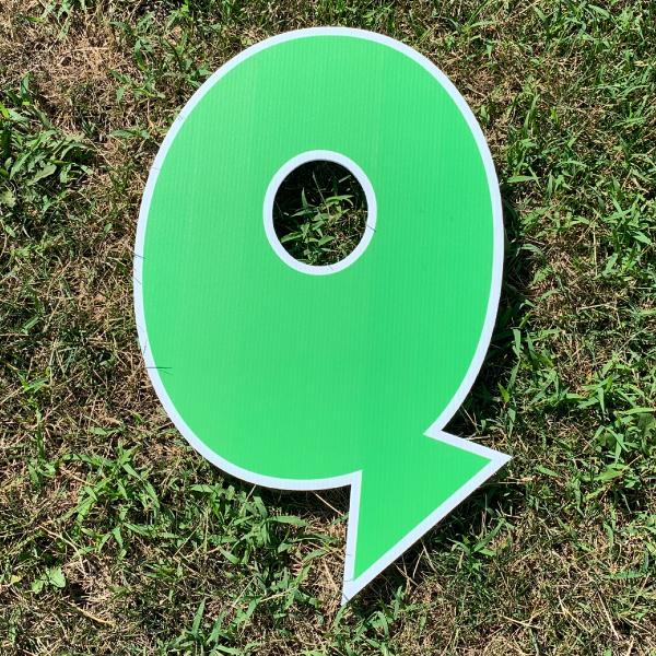 GREEN letter Q yard greetings cards corrugated plastic coroplast happy birthday lawn