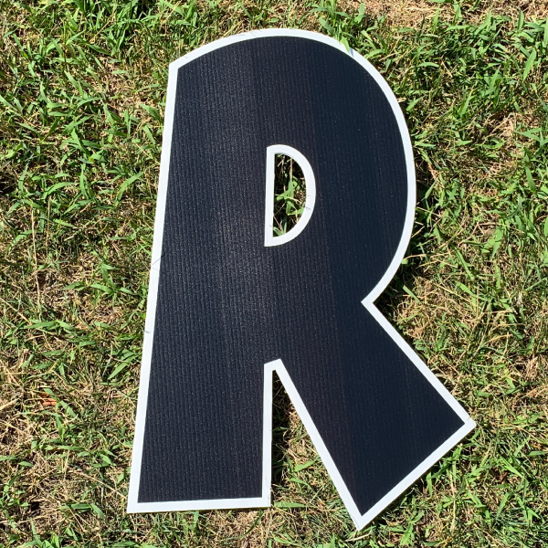 black letter r yard greetings cards corrugated plastic coroplast happy birthday lawn