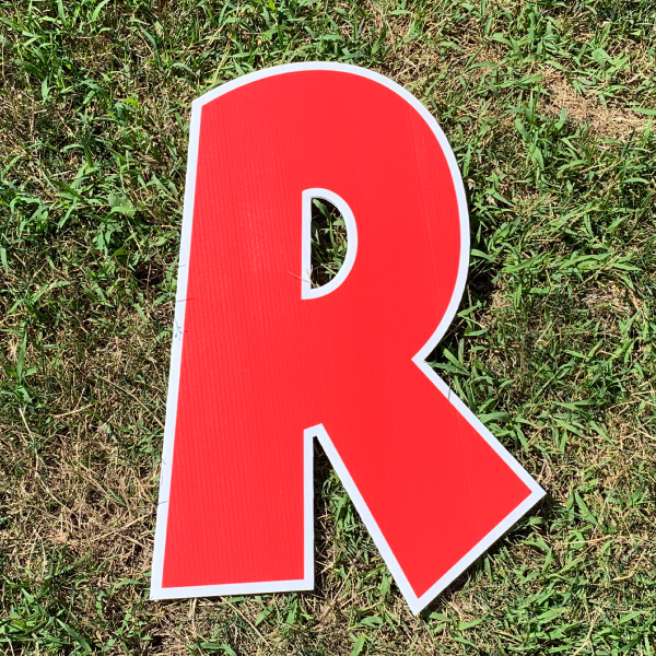 red letter r yard greetings cards corrugated plastic coroplast happy birthday lawn