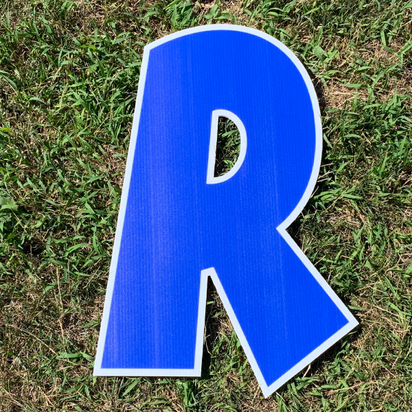blue letter r yard greetings cards corrugated plastic coroplast happy birthday lawn