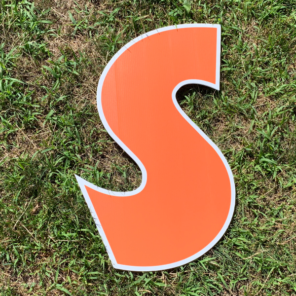 orange letter s yard greetings cards corrugated plastic coroplast happy birthday lawn