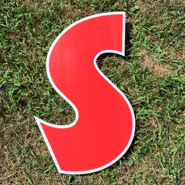 red letter s yard greetings cards corrugated plastic coroplast happy birthday lawn