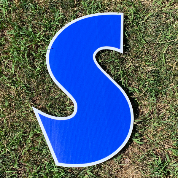 blue letter s yard greetings cards corrugated plastic coroplast happy birthday lawn