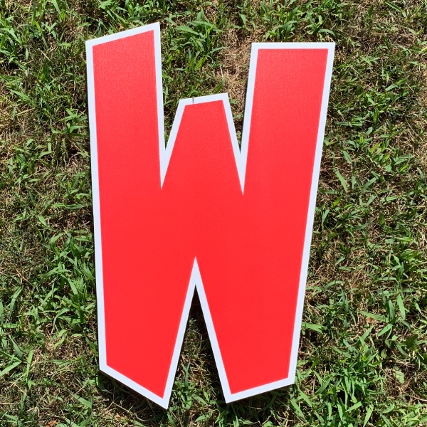 red letter w yard greetings cards corrugated plastic coroplast happy birthday lawn