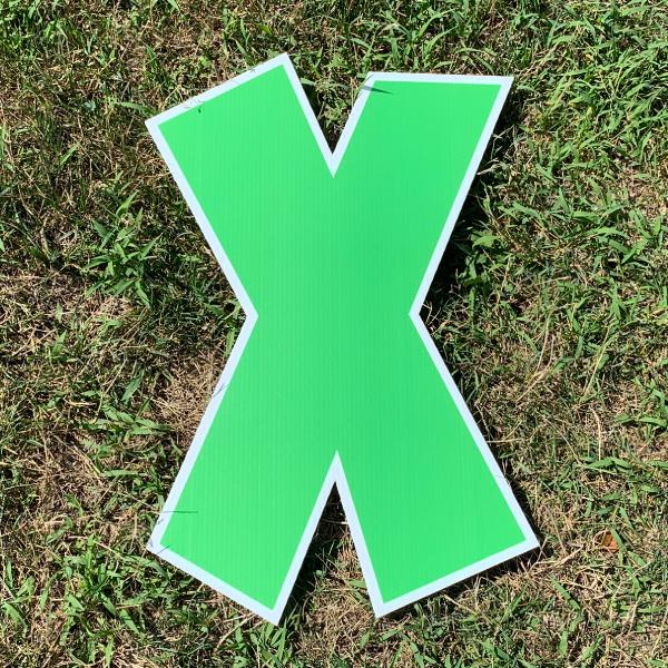 green letter x yard greetings cards corrugated plastic coroplast happy birthday lawn