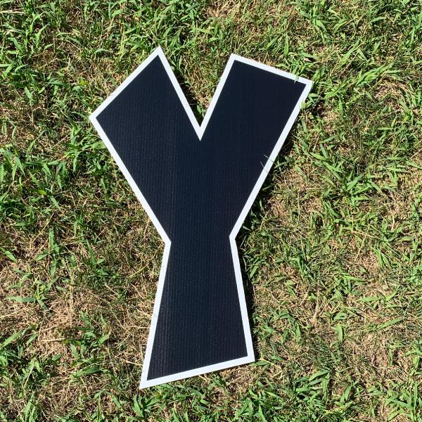 black letter y yard greetings cards corrugated plastic coroplast happy birthday lawn