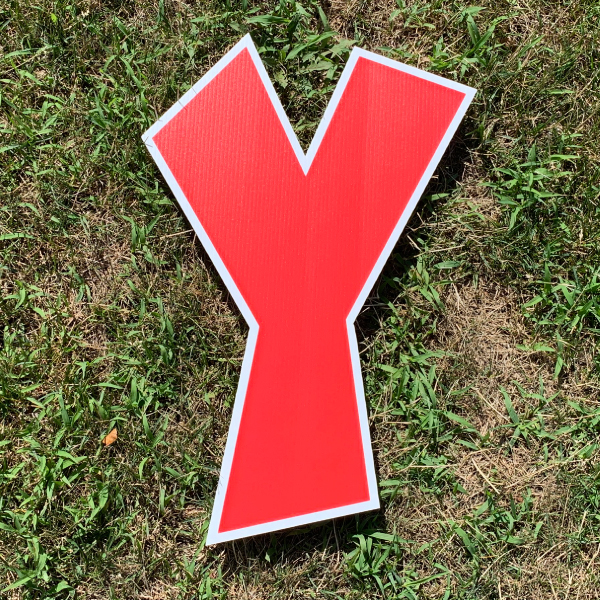 red letter y yard greetings cards corrugated plastic coroplast happy birthday lawn