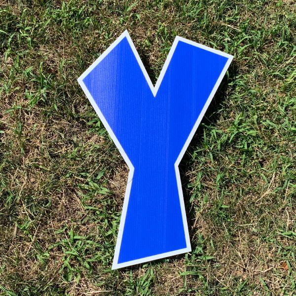 blue letter y yard greetings cards corrugated plastic coroplast happy birthday lawn