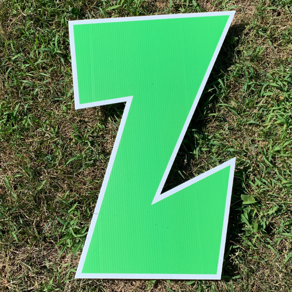 green letter z yard greetings cards corrugated plastic coroplast happy birthday lawn