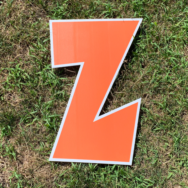 orange letter z yard greetings cards corrugated plastic coroplast happy birthday lawn