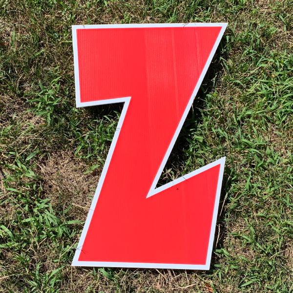red letter z yard greetings cards corrugated plastic coroplast happy birthday lawn