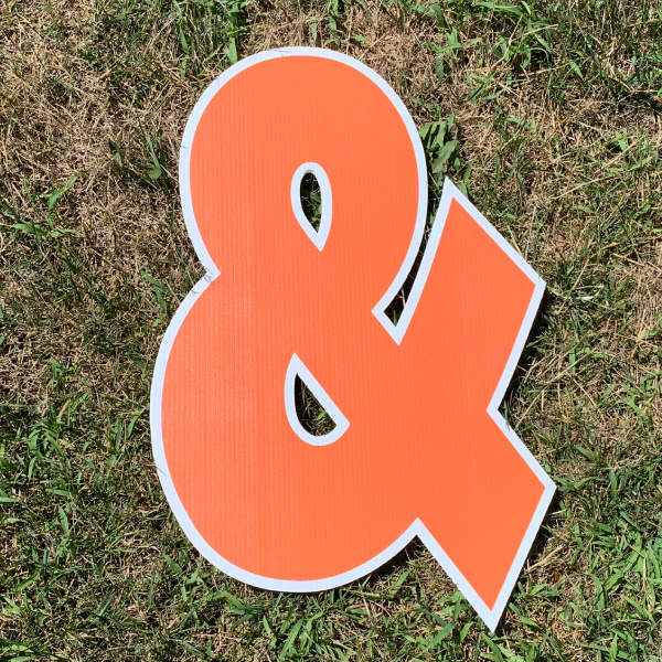 orange symbol ampersand & yard greetings cards corrugated plastic coroplast happy birthday lawn