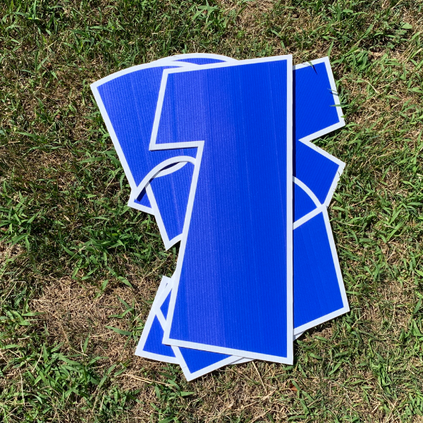 blue number pack coroplast numbers corrugated plastic yard greetings cards lawn signs