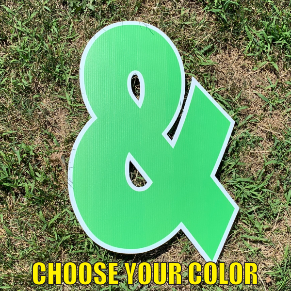 choose symbol ampersand & yard greetings cards corrugated plastic coroplast happy birthday lawn