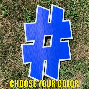 choose symbol hashtag # yard greetings cards corrugated plastic coroplast happy birthday lawn