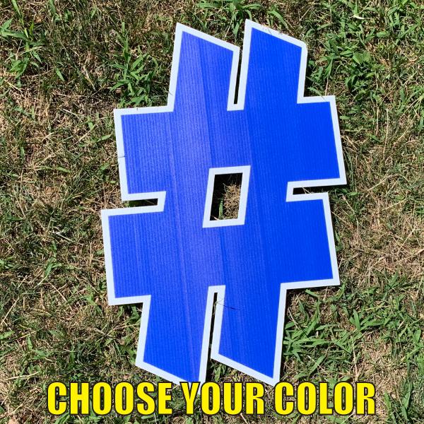 choose symbol hashtag # yard greetings cards corrugated plastic coroplast happy birthday lawn
