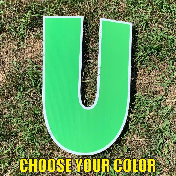 choose letter U yard greetings cards corrugated plastic coroplast happy birthday lawn