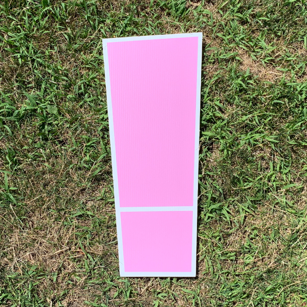 pink symbol exclamation ! yard greetings cards corrugated plastic coroplast happy birthday lawn