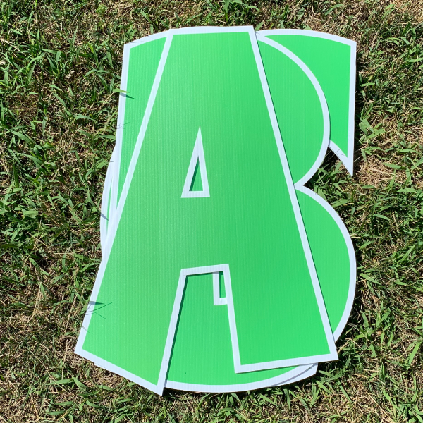 green custom name letter pack corrugated plastic coroplast yard greetings happy birthday yard cards lawn signs