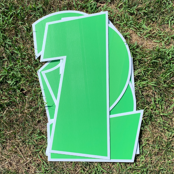 green number pack coroplast numbers corrugated plastic yard greetings cards lawn signs