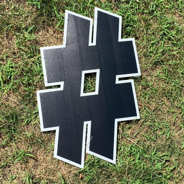 black symbol hashtag # yard greetings cards corrugated plastic coroplast happy birthday lawn