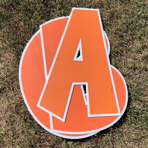 orange custom name letter pack corrugated plastic coroplast yard greetings happy birthday yard cards lawn signs