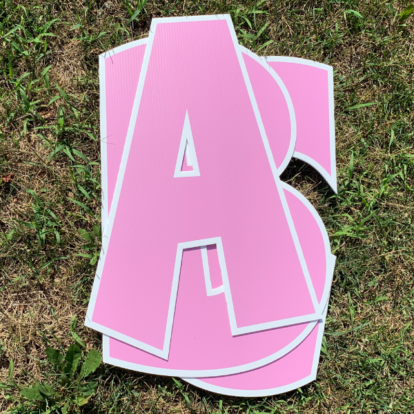 pink custom name letter pack corrugated plastic coroplast yard greetings happy birthday yard cards lawn signs
