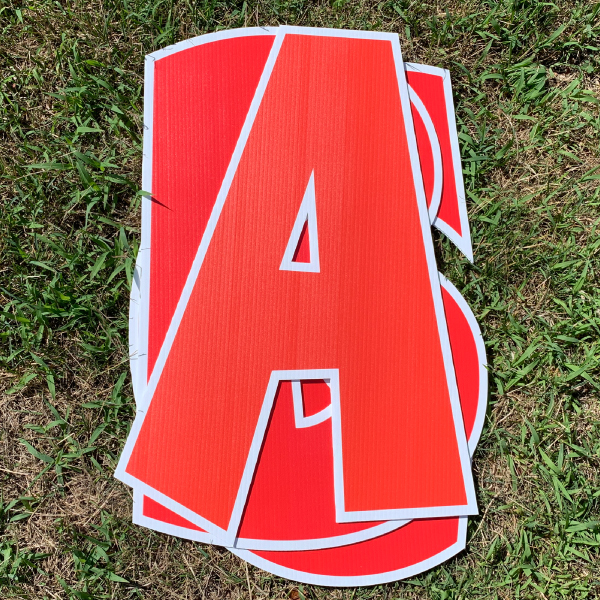 red custom name letter pack corrugated plastic coroplast yard greetings happy birthday yard cards lawn signs
