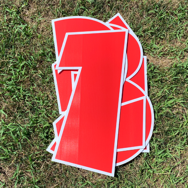 red number pack coroplast numbers corrugated plastic yard greetings cards lawn signs