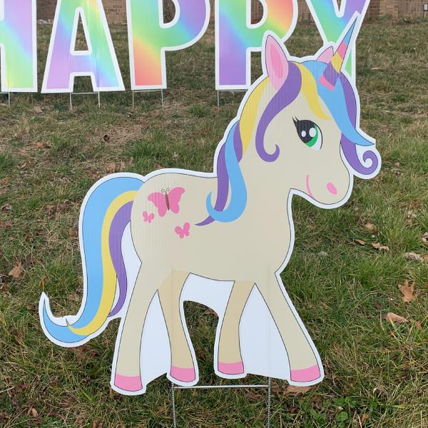 unicorn 3 yard greetings yard cards lawn signs