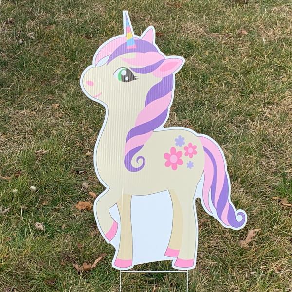 unicorn 5 yard greetings yard cards lawn signs