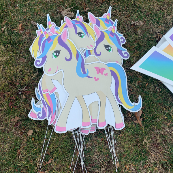 dozen unicorns yard greetings yard cards lawn signs