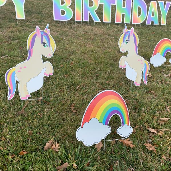 Happy Birthday Yard Greetings Card Lawn Sign 3 unicorns yard greetings yard cards lawn signs