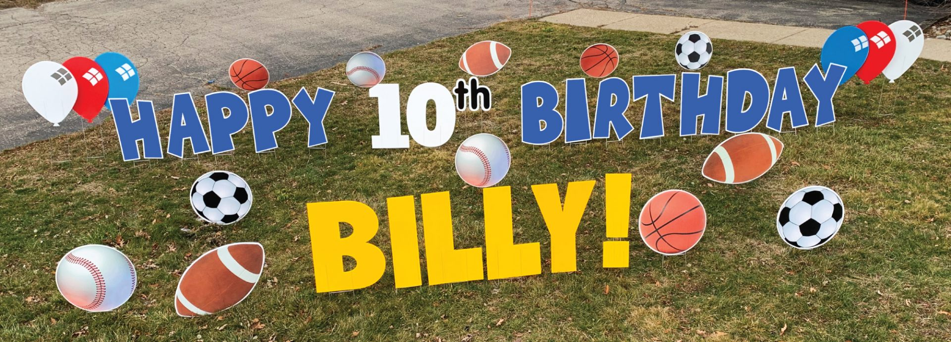 Happy Birthday Sports with blue letters yard greetings cards lawns signs